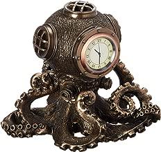 XoticBrands Steampunk Octopus Diving Bell Clock-Animal Statue, Bronze