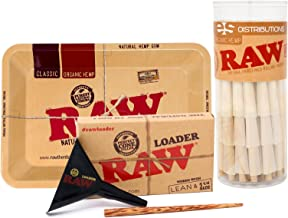 RAW Organic 1 1/4 Pre-Rolled Cones with Filter Tips - Bundle (75 Pack with Mini Rolling Tray and Lean Loader)