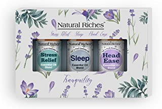 Natural Riches Tranquility Serenity Essential Oil Blends Set with Sleep, Stress Relief and Head Easy Essent...