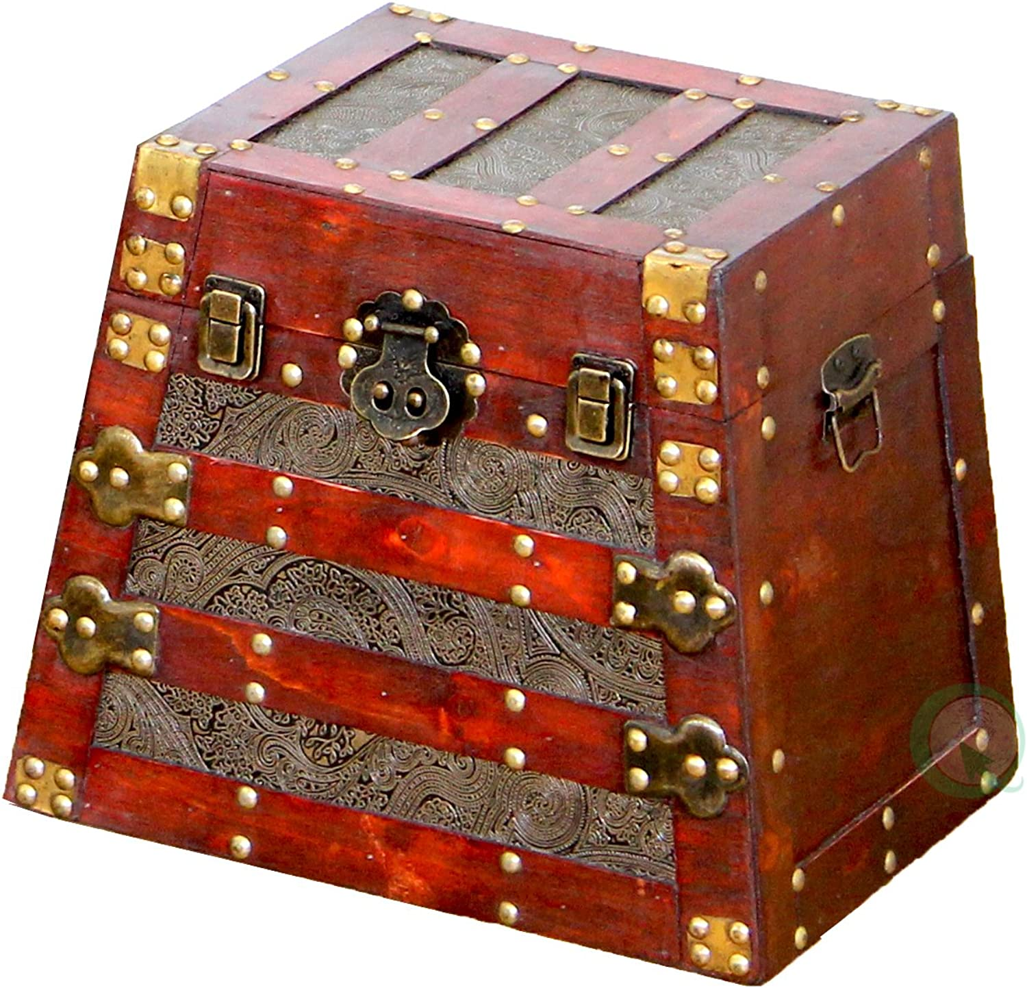 Vintiquewise Antique Pyramid Wooden Trunk, Small