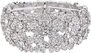 Women's Bohemian Boho Crystal Flower Hollow Cluster Beaded Bangle Bracelet