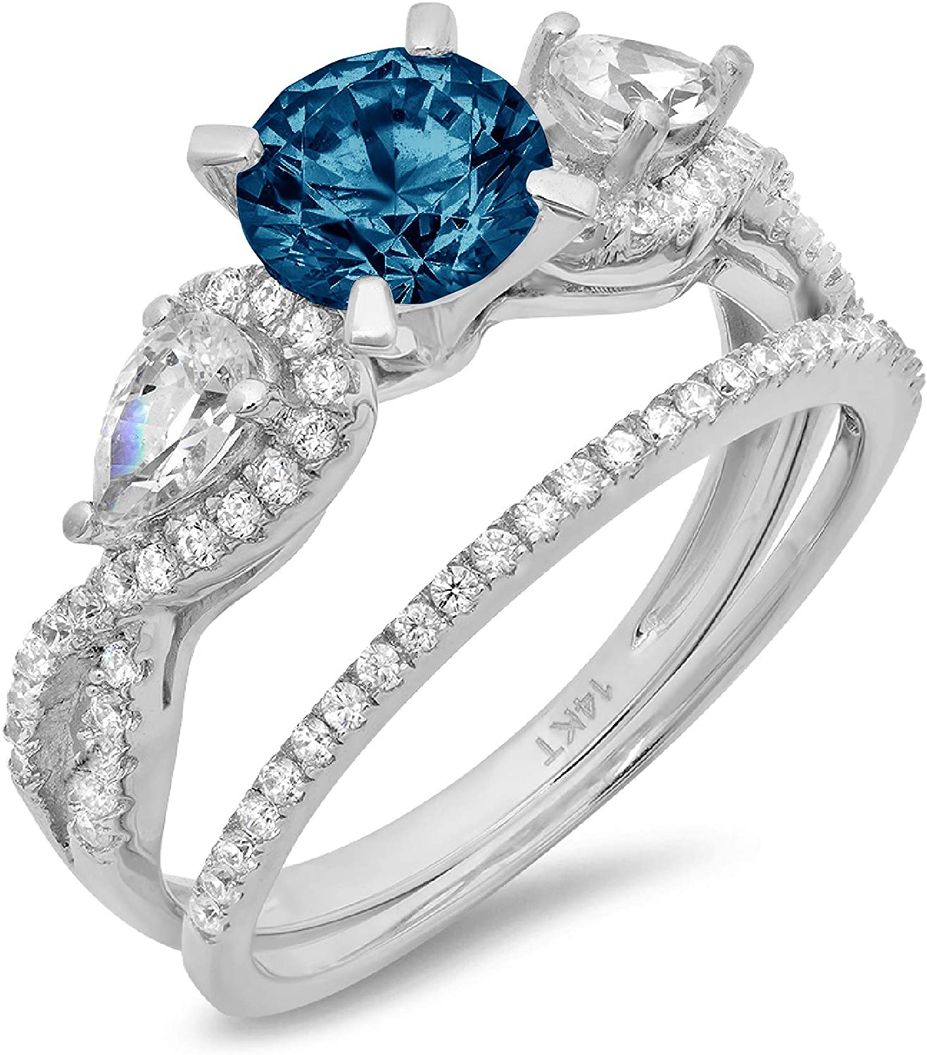 shopping Fort Worth Mall 2.0ct Round Pear Cut Solitaire 3 Natural London Accent stone Blu