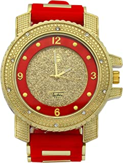 Totally Iced Out Cubic Zirconia Techno Pave Gold Tone Over Sized Hip Hop Men's Bling Bling Watch Watches
