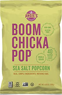 Angie's BOOMCHICKAPOP Sea Salt Popcorn, 4.8 oz Bag, Pack of 12