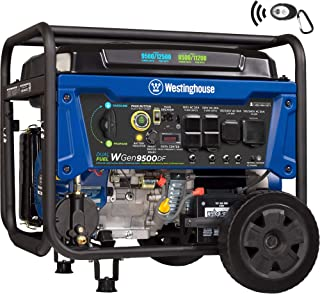 Westinghouse WGen9500DF Dual Fuel Generator-9500 Rated 12500 Peak Watts-Gas or Propane Powered-Electric Start Portable Generator, Blue