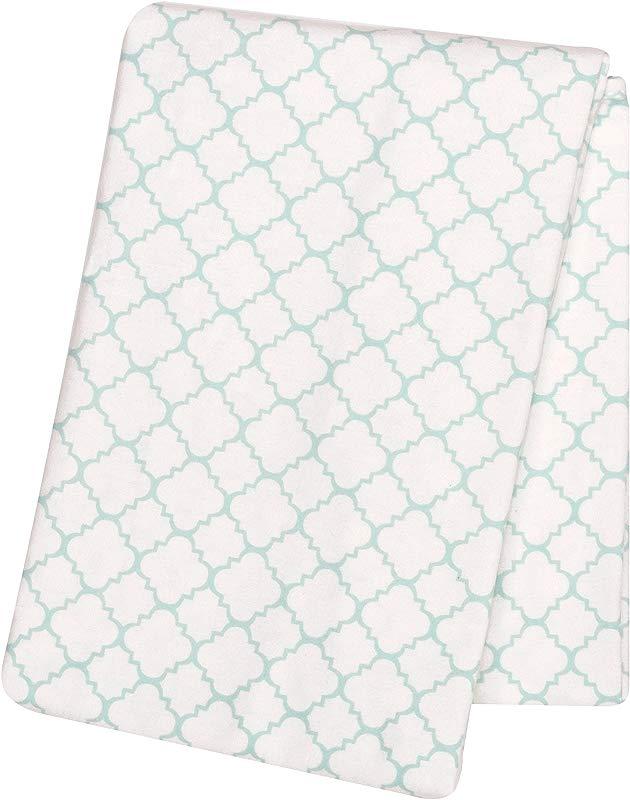 Trend Lab Quatrefoil Deluxe Flannel Swaddle Blanket Mint Green White