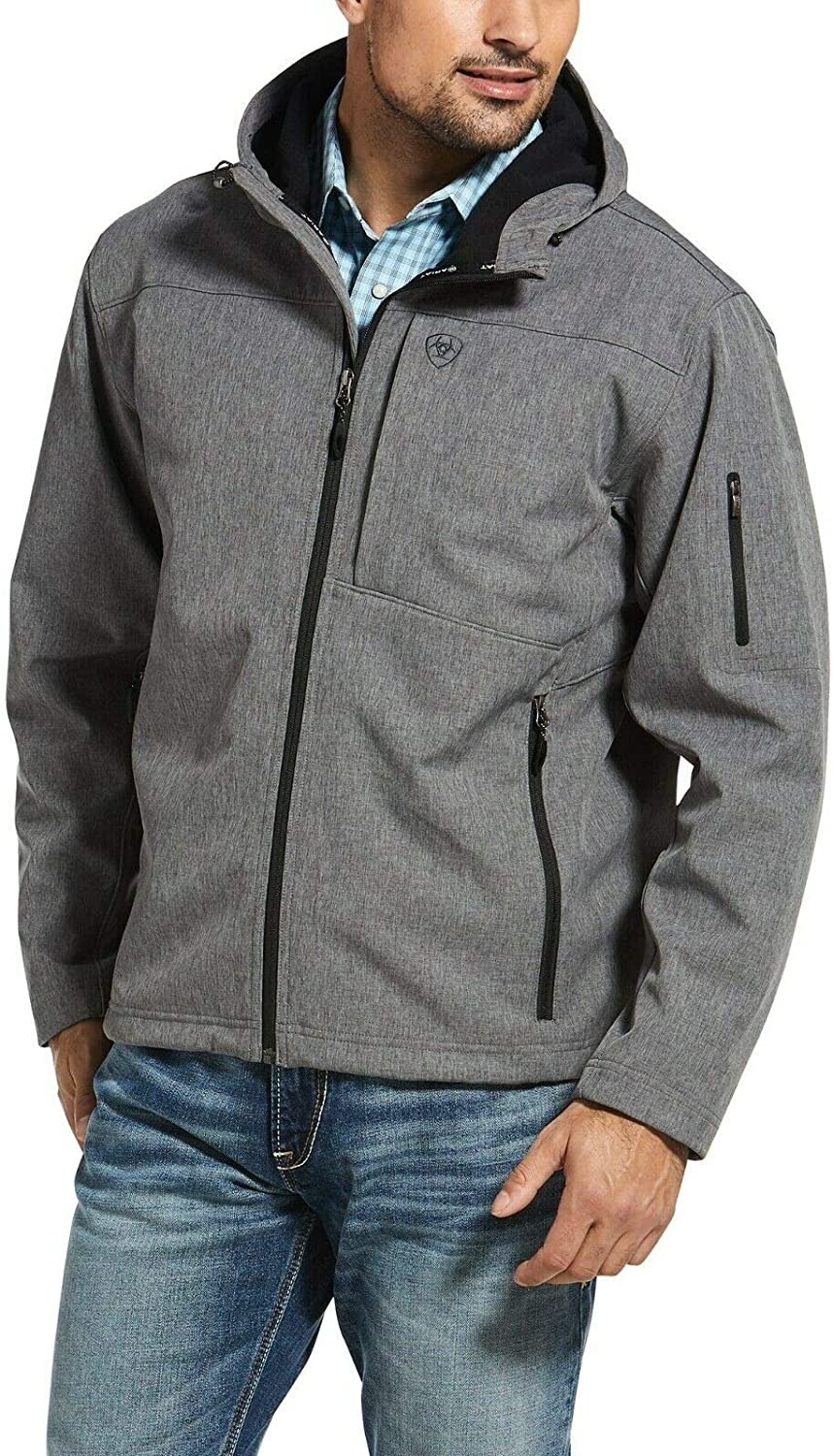 ARIAT Men's Charcoal Vernon Hooded Softshell Jacket Charcoal X-Large