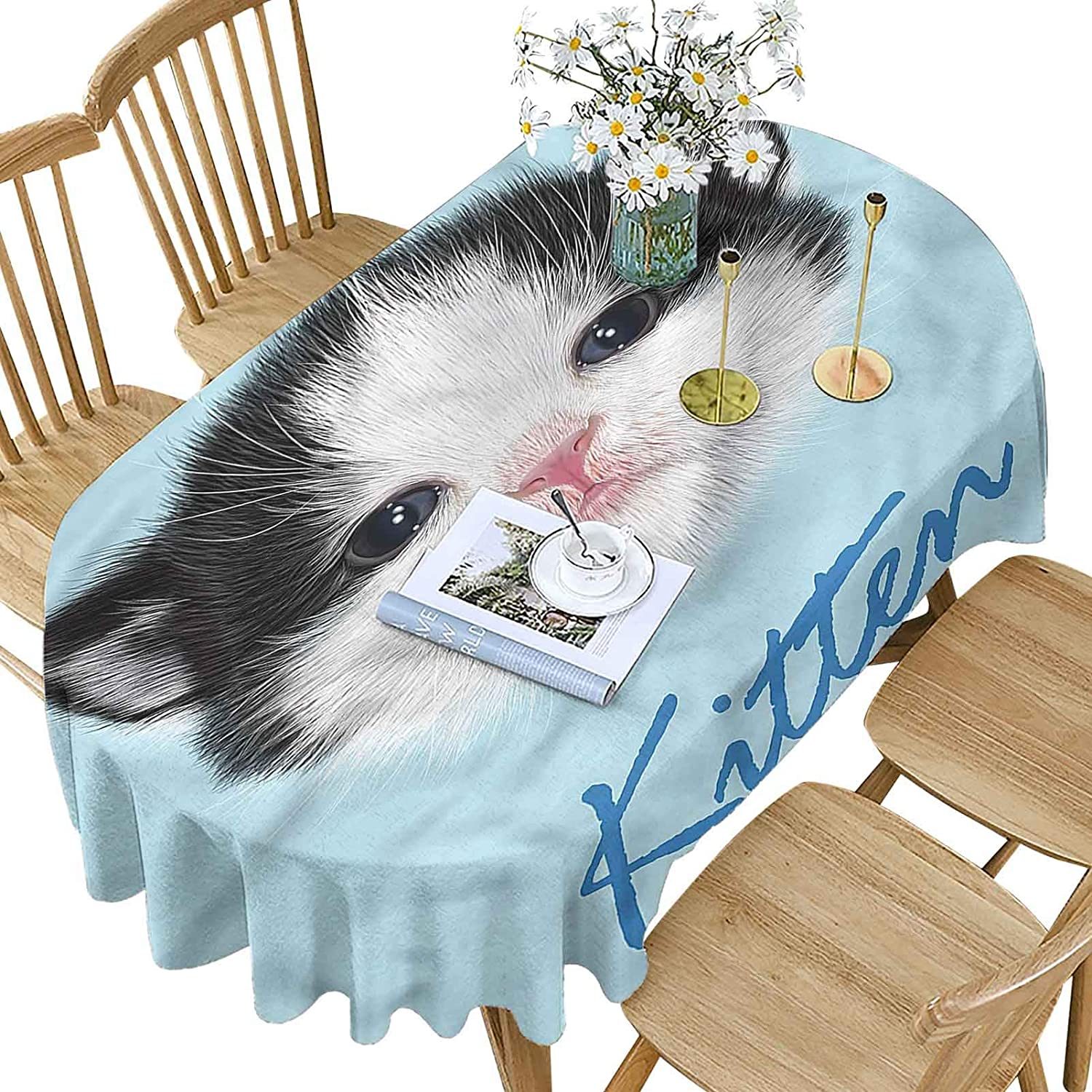 Cartoon Polyester Oval Limited price Tablecloth Furry Pattern Pink Nose Kitten 35% OFF