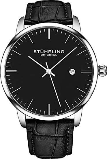 Amazon.com: Stuhrling Original Mens Watch Calfskin Leather Strap - Dress + Casual  Design - Minimalist Analog Watch Dial with Date, 3997Z Watches for Men  Collection (Black Silver) : Clothing, Shoes & Jewelry