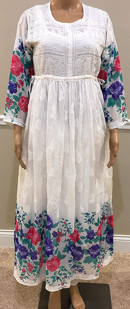 Lucknow Chikankari Soft Cotton flared frock style Tunic Kurti with Spring Floral Print/Includes pure cotton liner slip/Length :50 inches
