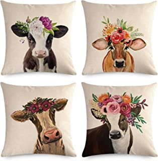 TLitdr Set of 4 Watercolor Cow Throw Pillows Covers 18 x 18 Inch Fall Home Decor Sofa Decorative Square Pillow Case Faux Linen Cushion Covers for Sofa Couch Bedroom Car Chair
