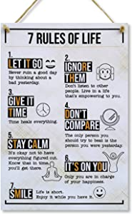 CARISPIBET 7 Rules of Life | Home Decoration Sign Happy and Inspiring Uplifting House Decor 12