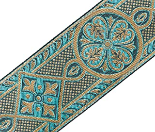 Gothic Medieval Style Jacquard Trim Turquoise & Gold Vestment Sewing 2 3/8