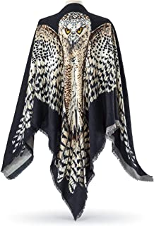 Beautiful Reversible Scarf/Shawl - Painted Owl Art with Wide Spread Wings; Spread your Wings for Halloween