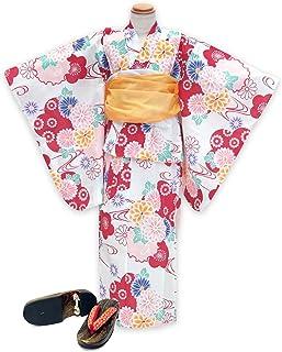 浴衣 こども 女の子 セット 古典柄の女の子浴衣 兵児帯 下駄 3点セット 110「生成り 赤系菊と雪輪」OCN11-7A-Yset