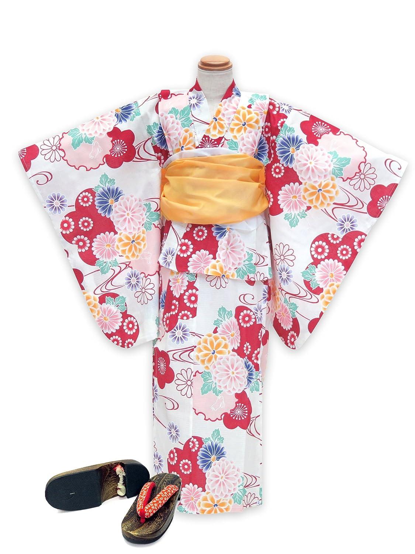 浴衣 こども 女の子 セット 古典柄の女の子浴衣 兵児帯 下駄 3点セット 100「生成り 赤系菊と雪輪」OCN10-7A-Yset