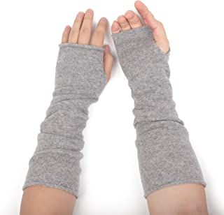 Flammi Women's 100% Cashmere Knit Arm Warmer Gloves Fingerless Mittens