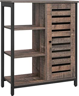 VASAGLE Meuble de rangement, Buffet, Étagère, Placard, Armoire, 3 étagères et 1 compartiment avec porte, cadre en acier, c...