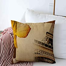 Decorative Square Throw Pillow Covers Brown Album Autumn Paris Retro Old Eiffel Page in Yellow Aged Artistic Border Cardboard Romantic Cushion Case for Sofa Bedroom Car 16 x 16 Inch