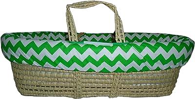 Baby Doll Bedding Chevron Moses Basket, Green