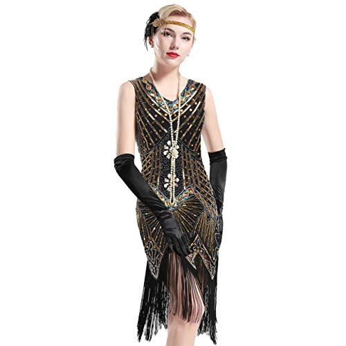 f7bf641d BABEYOND Women's Flapper Dresses 1920s V Neck Beaded Fringed Great Gatsby  Dress
