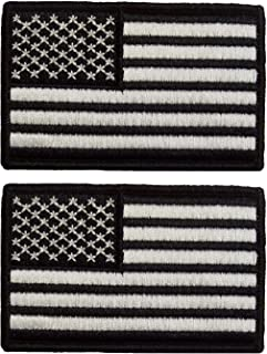 yisibo Set of 2 Tactical US Flag Patch Nylon American Embroidery Patch Badge for Hats Gear Bags Caps (Rectangle, USA Flag-White&Black
