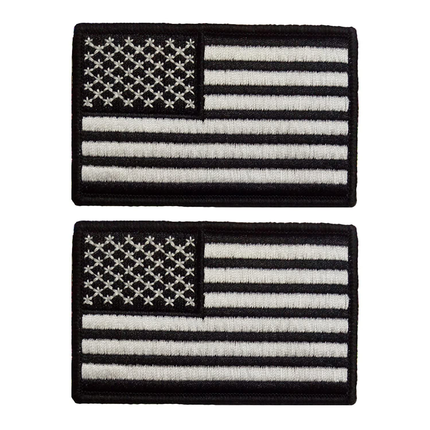 Yisibo Set of 2 Tactical US Flag Patch Nylon American Embroidery Patch Badge for Hats Gear Bags Caps (Rectangle, USA Flag-White&Black) knsw367539848