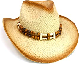 Skeleteen Western Straw Cowboy Hat - Straw Woven Cow Boy Hats Costume Accessories - 1 Piece