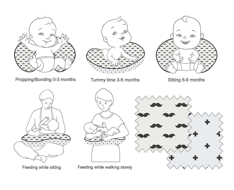 Bacati - 100 Percent Cotton Muslin (Nursing Pillow, Black Plus/Cross/Mustache/)