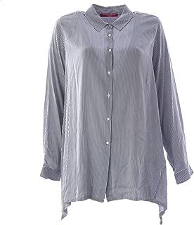 Marina Rinaldi Women's Bagliore Striped Button Up Blouse Blue/White