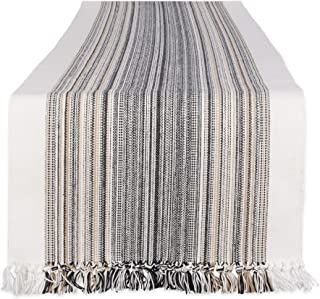 DII Everyday Collection Fringed Stripe Tabletop, Table Runner, 14x108, Black