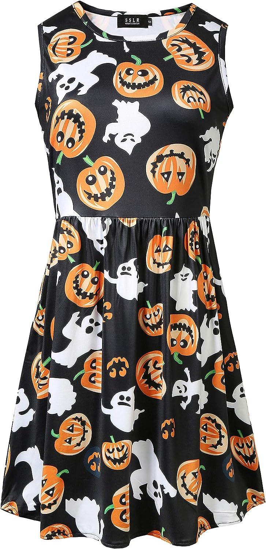 SSLR Womens Witch Dress Pumpkins Halloween Dresse Lowest price challenge Sleeveless Bat Popular shop is the lowest price challenge