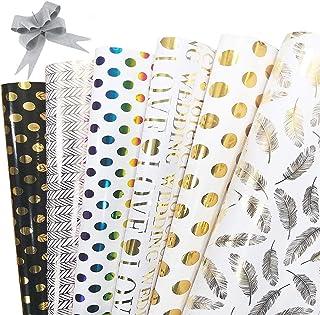 Papier Cadeau, Lot de 6 de papier cadeau avec 10 pièces tirer l'arc pour Anniversaire, Noël, Vacances, Mariage, cadeau de ...