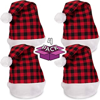 Festive Christmas Plaid Santa Party Hat - Family 4 Pack