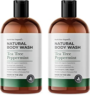 Natural Tea tree Peppermint Body Wash, Made in USA, 2X16oz, Natural Bath and Shower Gel for Men and Women, ...