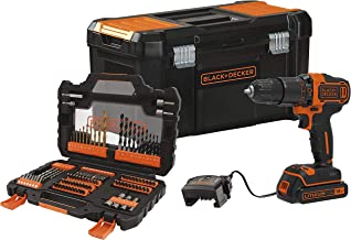 Black+Decker BDCHD18S1KA-QW klopboormachine 18 V met 104 accessoires, 1 lithium-accu 1,5 Ah en gereedschapskoffer, Zwart e...