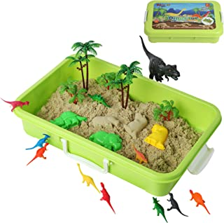 Dinosaur Play Sand Kit - 2 Bags of Sand and 34 Pieces - Feels Like Wet Sand Without The Mess - Comes with Bin, Lid, Dinosaur Figures, Dino Molds, Trees, Fences - Safe, Sensory Experience for Kids