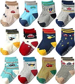 Hocaies, 12 Pares de Calcetines Antideslizantes para Niños Calcetines Niñas y Niños Calcetines de Antideslizantes para Bebés y Niños Pequeños Para 0-5 años