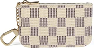 Daisy Rose Luxury Zip Checkered Key Chain pouch | PU...