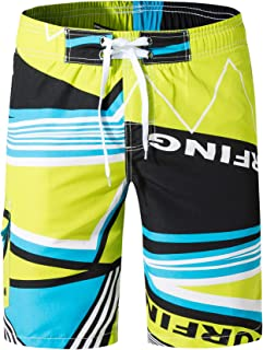 e70990a2a6 XTAPAN Men's Swim Trunks Quick Dry Beach Board Shorts Printed with Mesh  Lining