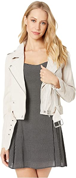 Suede Moto Jacket in White Sand