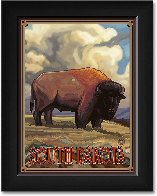 South Dakota Buffalo Tucson Mall Max 87% OFF Side Professionally from Print Framed T Art