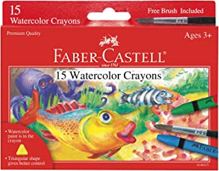 Faber-Castell Watercolor Crayons with Brush, 15 Colors - Premium Quality Art Supplies for Kids