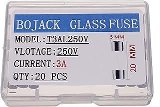 BOJACK T3AL250V 5x20mm 3A 250V Slow Blow Fuses 3 amp 250 Volt 0.2 x 0.78 Inch Glass Tube Time-delay Fuses(Pack of 20 Pcs)