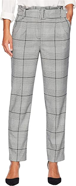 Petite Paperbag Waist Glen Plaid Slim Leg Pants