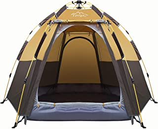 Toogh 3-4 Person Camping Tent Backpacking Tents Hexagon Waterproof Dome Automatic Pop-Up Outdoor Sports Tent Camping Sun S...