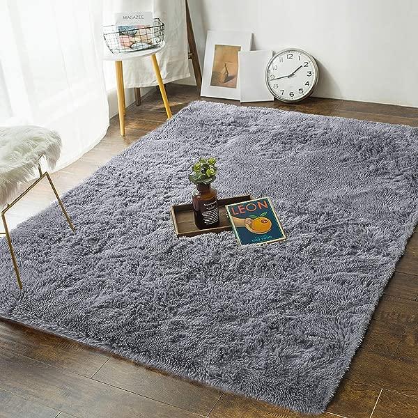 柔软的卧室地毯 4X5 3 蓬松的地板面积地毯客厅儿童房家居装饰地毯