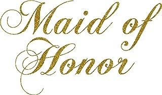 Maid of Honor Wedding Iron on Transfer (Glitter Gold)