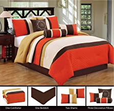 Modern 7 Piece Bedding Orange / Brown / White Pin Tuck / Embroidered QUEEN Comforter Set with accent pillows
