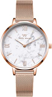 Welly Merck Womens Watch Stainless Steel Marble Dial Classy 32MM Minimalistic Swiss Quartz Movement Sapphire Crystal Wrist Watch with Interchangeable Mesh/Leather Strap